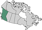 A map of Canada with the province of British Columbia highlighted