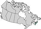 A map of Canada with Nova Scotia highlighted