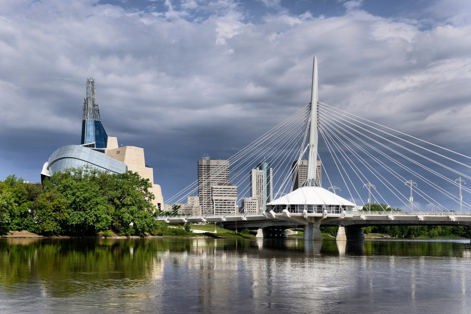 A skyline view of Winnipeg in Manitoba, Canada.