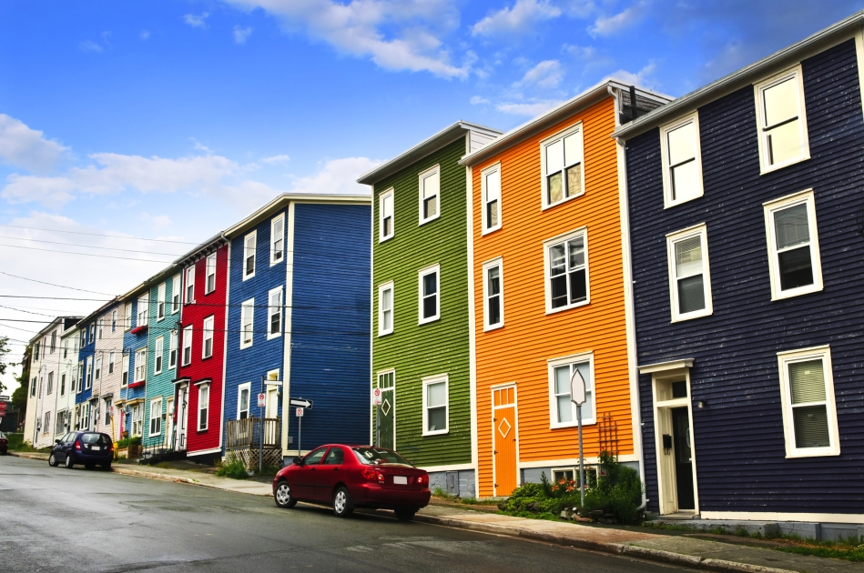 Colorful homes in St John's Newfoundland, Canada