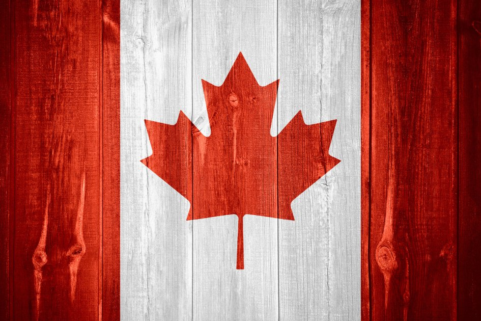 The Canadian Flag painted on wood