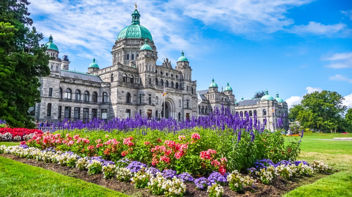 A view of parliament building in British Columbia, Canada.