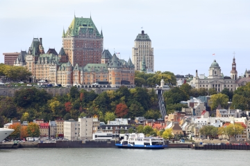 A view of Quebec City from the St Lawrence, with Chateau Frontenac in the background