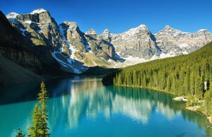 A beautiful lake in the Rocky Mountains near Banff, Alberta, Canada