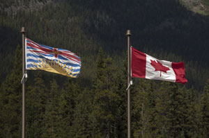 The flags of British Columbia and Canada