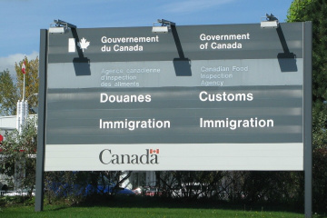 A sign at the Canadian border