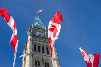 Canadian flags fluttering in front of parliament building
