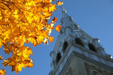 A church in Ottawa, Ontario, Canada on a fall day