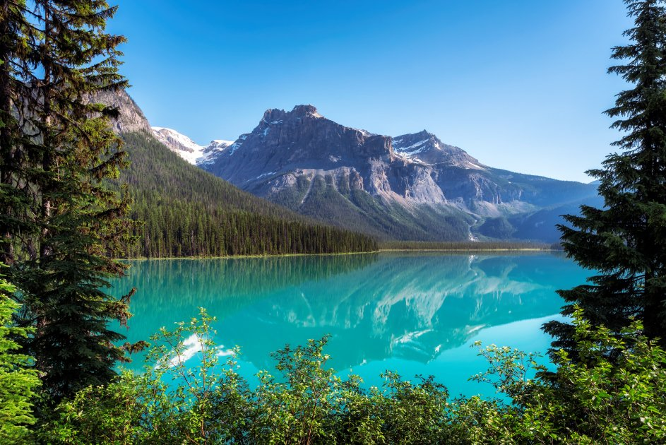 A view of Emerald lake in the Rockies, British Columbia.