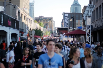 Crowds gather in downtown Montreal for the International Jazz Festival