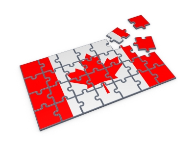 A near-complete jigsaw of the flag of Canada
