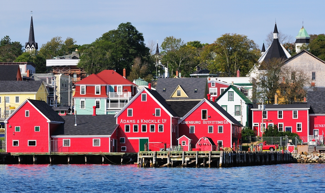 A wide shot of the town of Lunenburg in Nova Scotia, Canada.