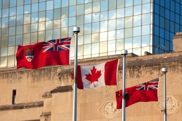 The flags of Canada and Manitoba