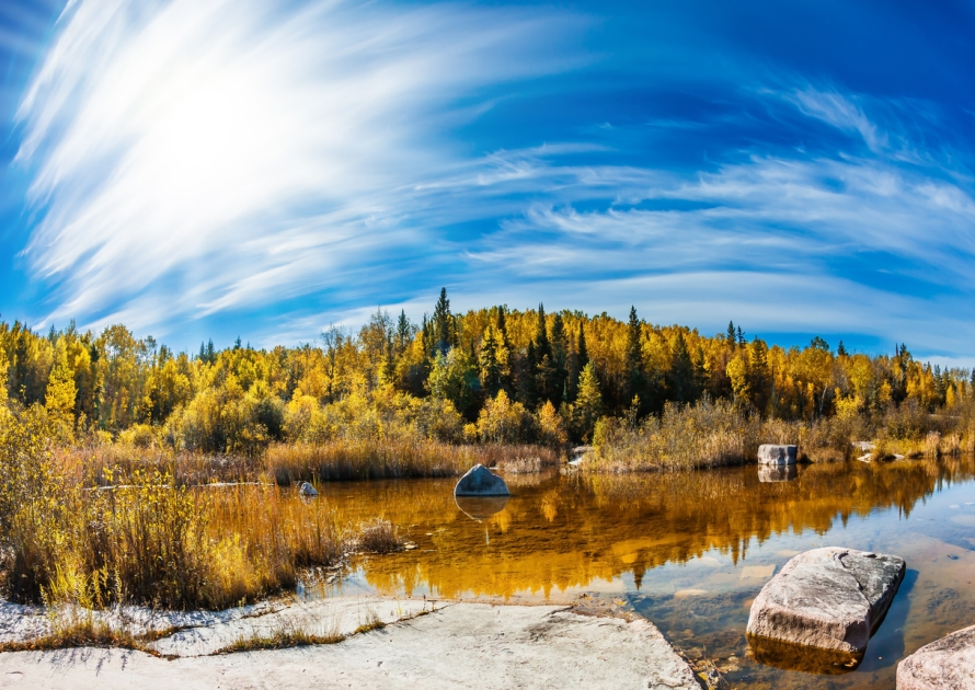 A morning view of landscape in the Canadian province of Manitoba.