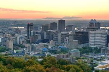Downtown Montreal, with McGill University in the foreground and Mont Saint Bruno in the distance