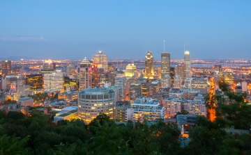 A view of downtown Montreal, Quebec, Canada at dawn