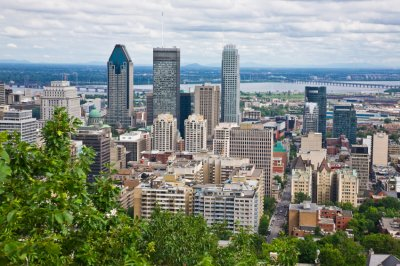 an aerial view of the city of Montreal in Quebec, Canada in the summer