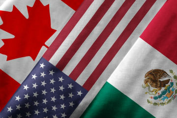 The flags of Canada, the United States, and Mexico