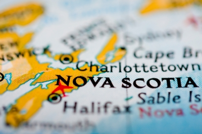 A map of Nova Scotia, Canada