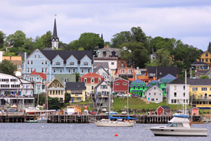A view of a coastal town in Nova Scotia, Canada