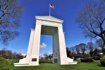 The Peace Arch at the border between Washington, USA and British Columbia, Canada
