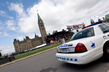 A police car outside Parliament Hill, Ottawa, Canada