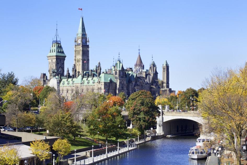 A stunning view the rideau canal in Ottawa, Ontario.