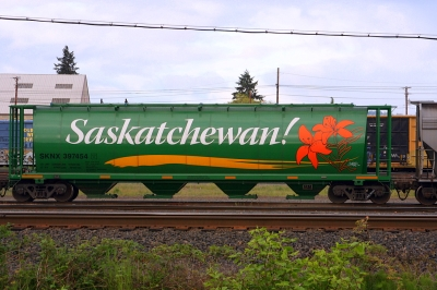 A freight train carriage in the Canadian prairies emblazoned with the word Saskatchewan