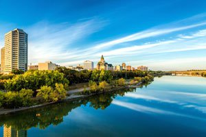 The city of Saskatoon, Saskatchewan, Canada from across the South Saskatchewan River