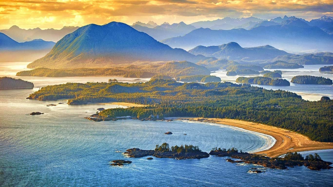 An aerial view of Tofino on Vancouver Island in British Columbia.