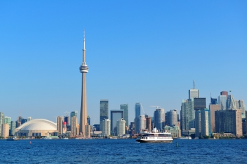 A view of downtown Toronto, Ontario, Canada, from the lake on a sunny day
