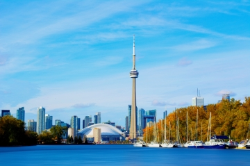 Downtown Toronto as viewed from Lake Ontario on a Fall day