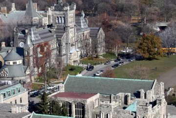 An aerial view of the University of Toronto in Toronto, Ontario, Canada