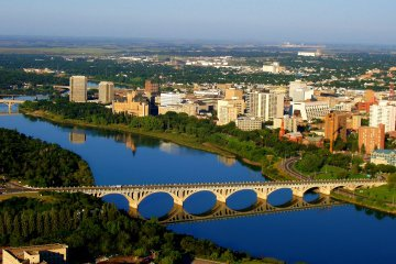 An aerial view of University Bridge in downtown Saskatoon, Saskatchewan, Canada