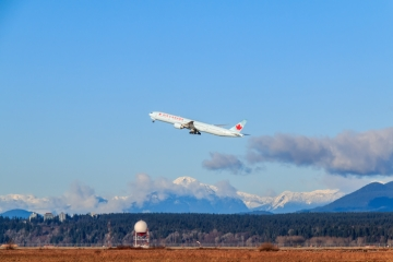 An airplane takes off in Vancouver, British Columbia, Canada