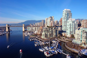 The waterfront in downtown Vancouver, British Columbia, Canada