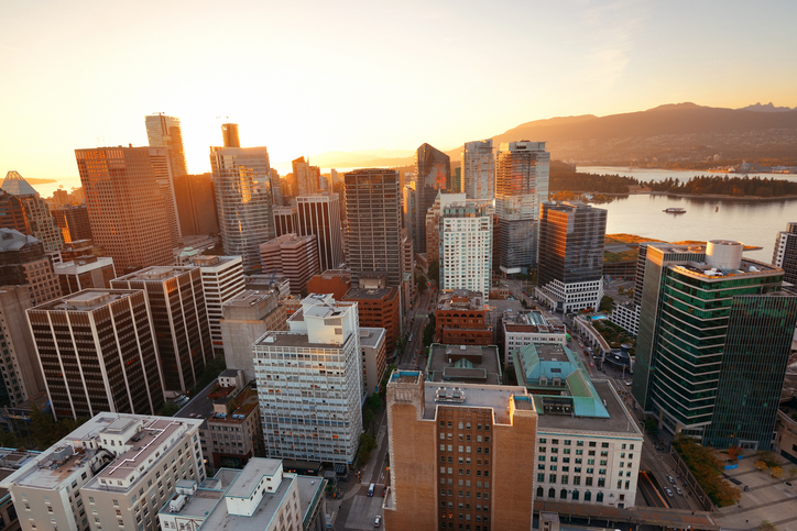 A view of downtown Vancouver, British Columbia.