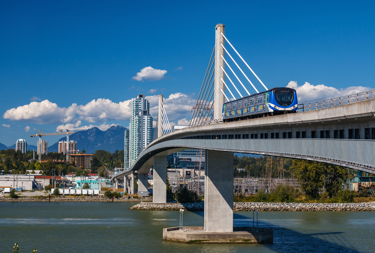 A train in the city of Vancouver in British Columbia.