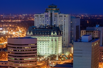 A view of downtown Winnipeg, Manitoba, Canada, at night