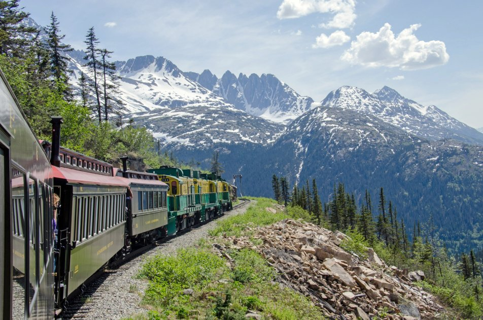 A view of a train in the White Pass and Yukon Route